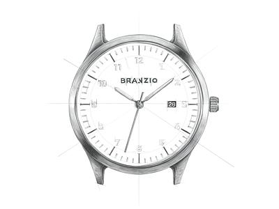 40mm Journal Black sketch clock product design watch design