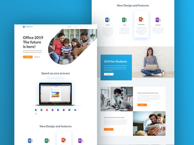 Microsoft Office 2019 interface ux ui design office2019 ecommerce mac pc onenote excel powerpoint word office software landing page microsoft student business