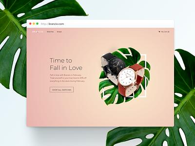 Branzio Valentine's Day inspiration clock e-commerce design e-comerce ecommerce watch visual design ui  ux design design concept ux ui