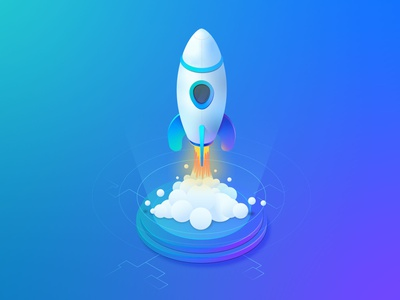 Isometric Rocket tech rocket landing page tune up computer vector concept illustration ui isometric