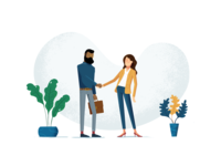 Shaking hands deal Saas illustration