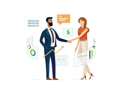 Business handshake deal SAAS illustration leads crm deal sales chart landing page chat money vector illustrator business saas illustration
