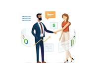 Business handshake deal SAAS illustration