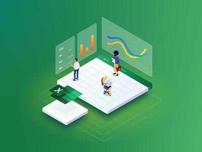 Isometric Excel Microsoft ads isometric illustration illustration app icon file ecommerce chart microsoft excel isometric