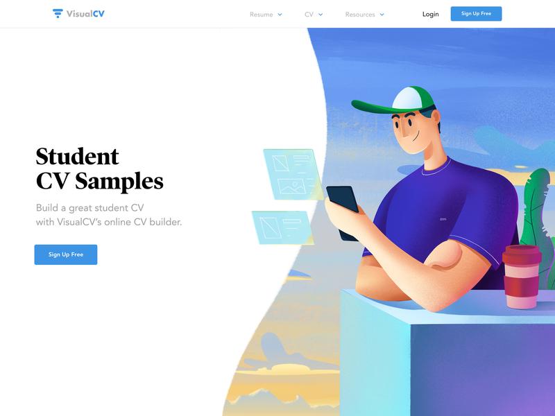 Hero Illustration Student procreate cv design resume home page homepage typography saas landing page concept ux design ui illustration hero image