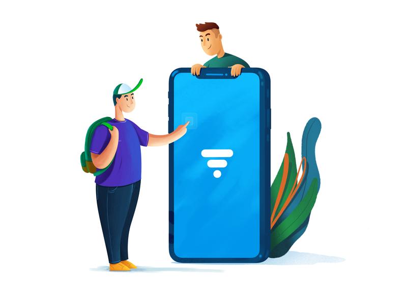 Resume Builder - App Download landing page flat illustration student android ios saas concept design illustration mobileapp mobile app