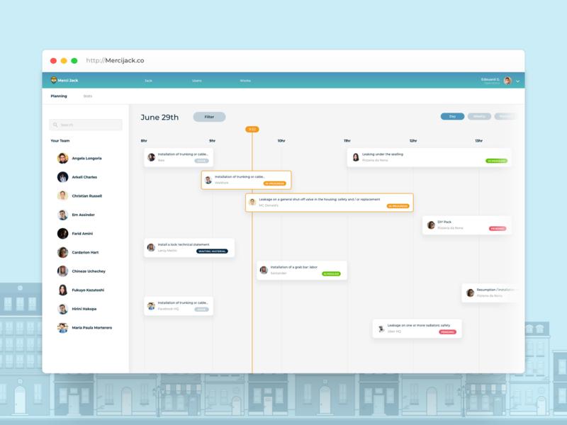 Merci Jack - Gantt Admin View webdesign webapp app branding admin panel admin filter ux design ui design uidesign ux ui design sprint sprint trello jira asana kanban gantt chart gantt