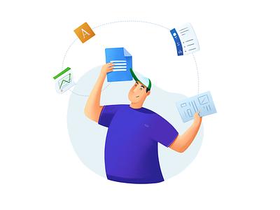 Google Docs - Resume Builder character design student template resume builder builder illustration app concept ui google drive google docs saas resume doc docs google