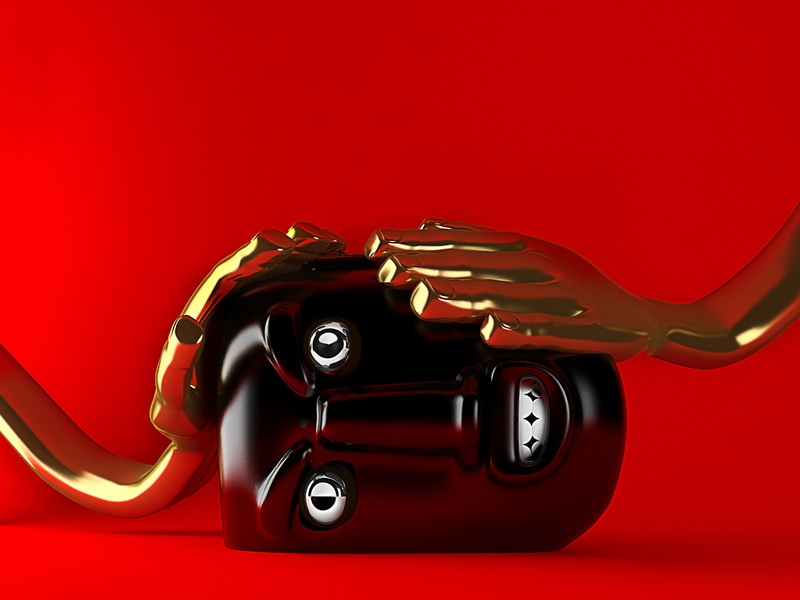 Two hands, one head. mask gold design c4d art direction illustration 3d art 3d artwork