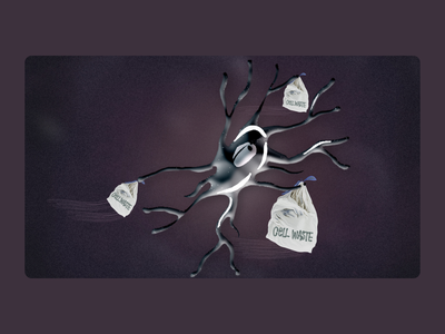 Microglia, the trash collector mnd biology medical als science illustration