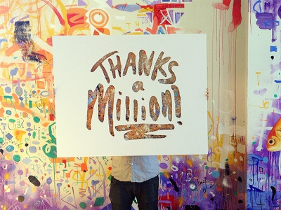 Thanks A Million lettering cardboard type typography sign