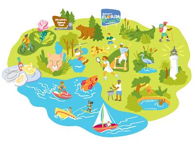 Florida Icons minimal illustrator map hiking camping outdoors vector nature design illustration icons