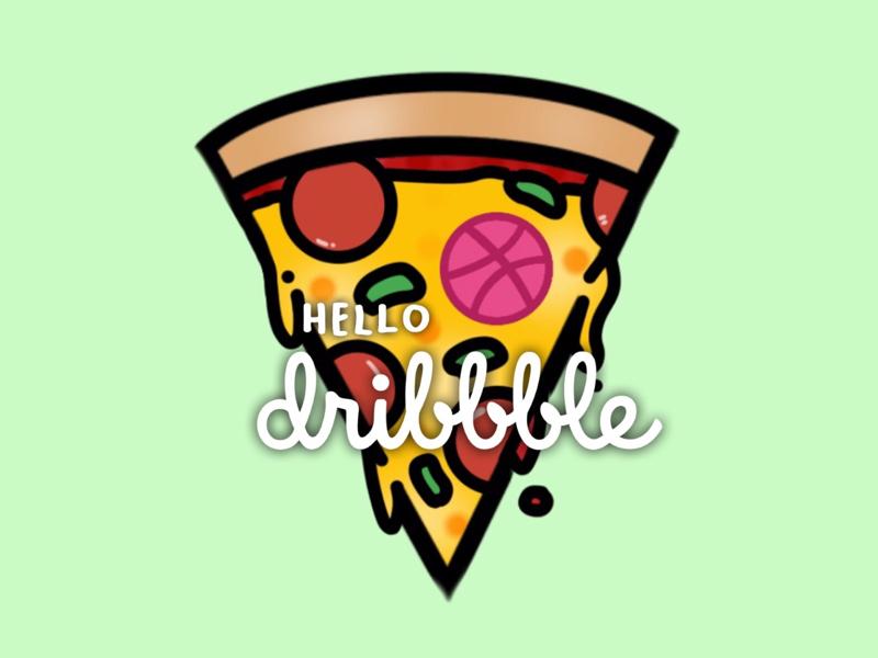 hello, dribbble italianfood foodillustration food illustration hellodribbble dribbble hello pizzaillustration pizza