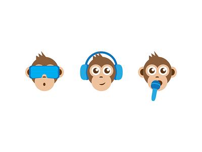 3 wise monkeys vector illustration