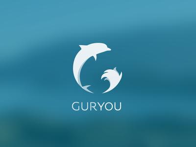 Guryou logo on blue minimal typography logo vector illustration branding design