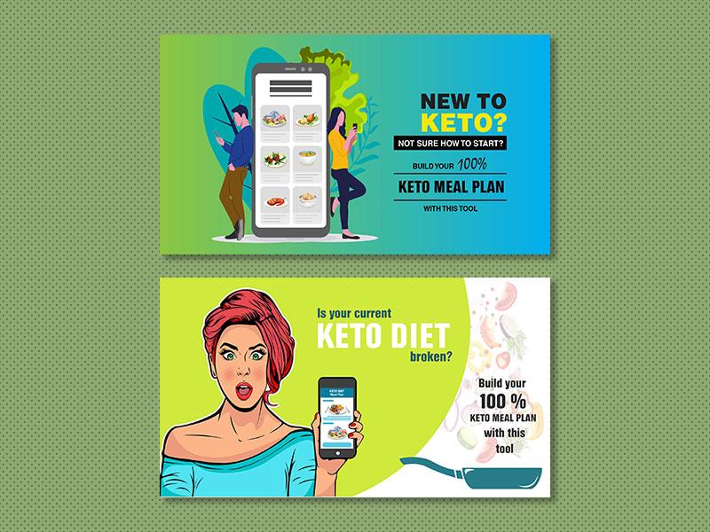 Keto Banner Ads banner ad design vector illustration