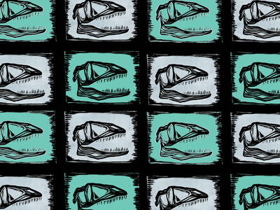 fresh fossil linocut print pattern grid