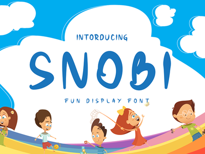 SNOBI // Fun display font design funny rantautype brand logotype font happy cartoon lettering fun