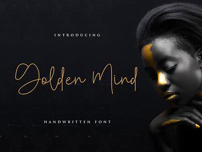 Golden mind handmade elagant luxury handwritter goldenmind rantaustudio element handlettering envanto market creative font design logo design brand type font lettering branding rantautype