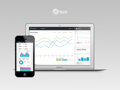 Toro Metrics d3 ui ux design interface web presentation graph charts emai