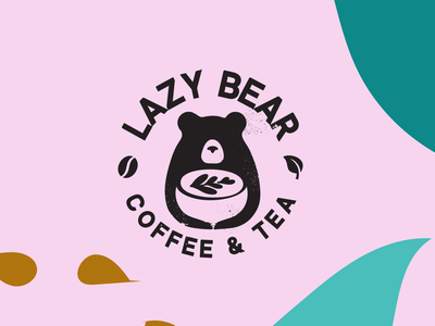 Lazy Bear Logo logotype logo design illustration flat branding