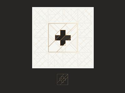Deco concept gold cross icon logo deco