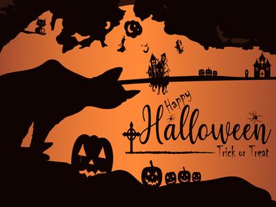 Happy Halloween Horizontal Background Design holiday happy halloween hand halloween graveyard grave death cross cemetery blue black bat