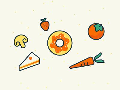 Food Cravings food pie dona line icons ui design illustration