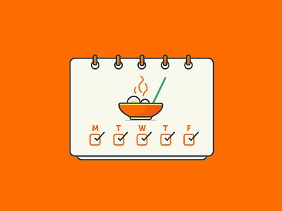 Meal Planning ramen calendar food meal plan ui design illustration