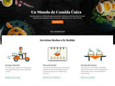 Our services Landing Page pwa catering service delivery meal plans layout food iconography illustration ui