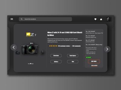 A web interface for a camera purchase website