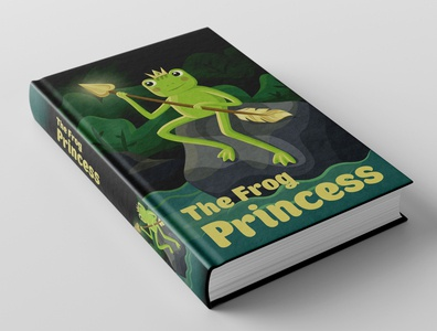 'The Frog Princess' book cover fairytales book cover vector illustration