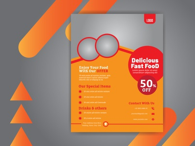 Creative Flyer Design Template flat design food flyer template flyer design flyer photoshop background vector illustration flat design