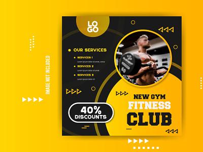 Gym Fitness Social Media Banner illustration social flat vector photoshop creative branding background graphic design