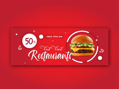 Fast Food Restaurants Social Media Banner follow love promotional marketing ads food trand shot of the day shot viral trendy banner branding photoshop creative background vector illustration flat design