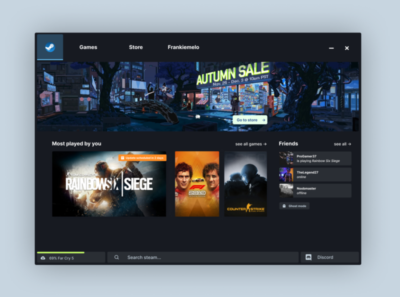 Steam Desktop Concept redesign gaming steam app ux ui design