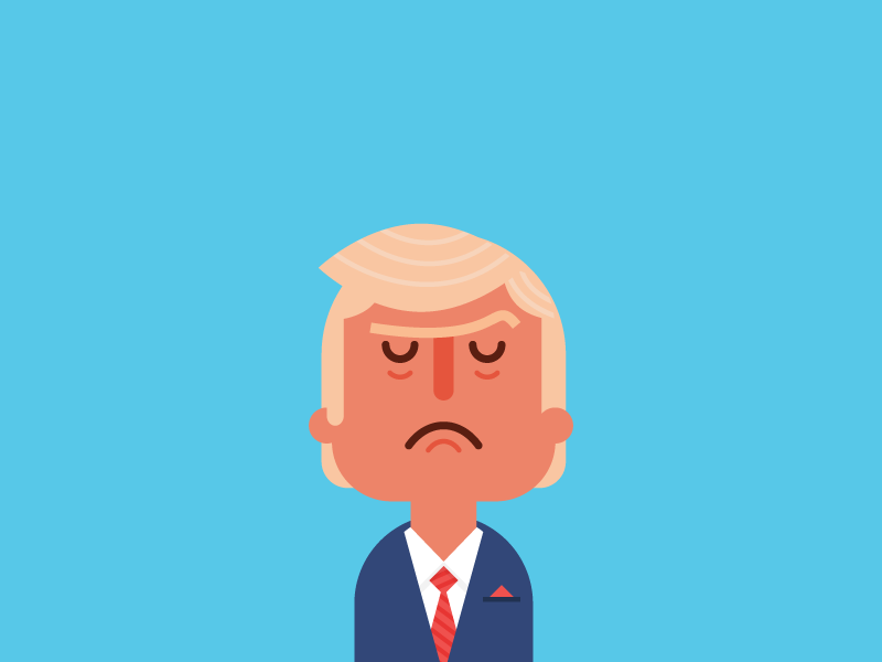 Trump spot caricature editorial politics character flat vector illustration