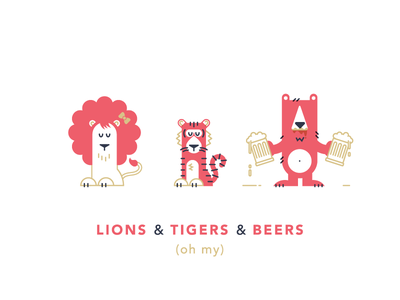 1st Birthday Invites lion tiger bear illustration characters beer animals collateral stationary birthday invitations print