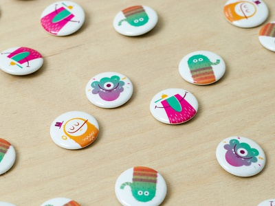 SpoYo Character Button spokane print buttons branding collateral festival kids children characters vector illustration