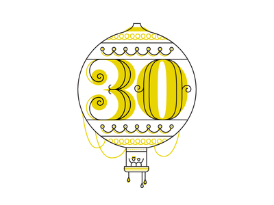 Birthday Balloon map infographic travel balloon line monoweight print birthday numbers lettering