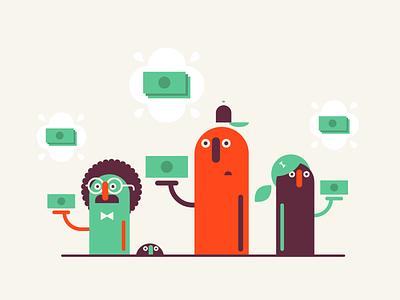Money ($) bowtie money 2d editorial animation characters flat vector illustration