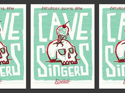Cave Singers Gig Poster illustration ice cream skull pnw spokane print screen printed music concert poster gig