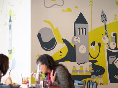 Mural at Bruncheonette art pnw painting cafe spokane local restaurant food brunch characters illustration mural