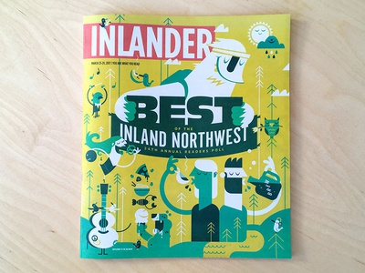 """Best Of"" Inland Northwest Cover newspaper character vector pnw northwest outdoor animals culture cover illustration editorial magazine"