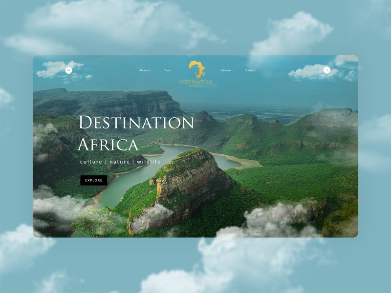 Destination Africa impression gold nature ux ui tourism website woman of color woman africa