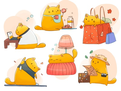 Fat cat life digitalart color cat character concept procreate digital illustration sketch illustration