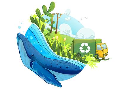 Clean the Nature! concept design branding logo ui color digitalart digital illustration sketch illustration