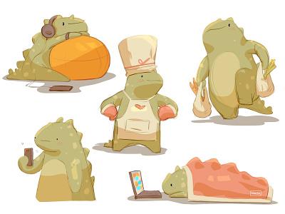 Dinosaur design procreate character digitalart concept drawing digital illustration sketch illustration