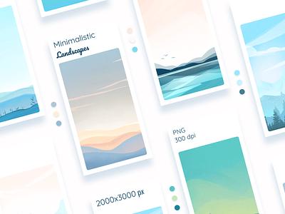 Awesome drawn backgrounds for your mobile app mobile app sky nature landscape background drawing design color digital illustration sketch illustration