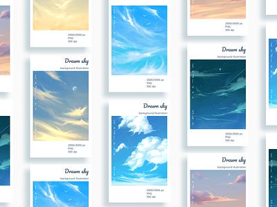 Drawn Sky Backgrounds for your mobile app mobileapp background design drawing digitalart digital illustration sketch illustration